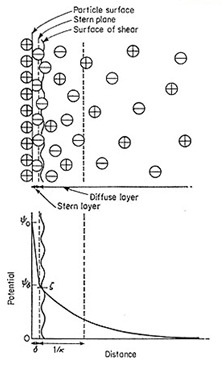 Colloidal dispersion of particles forming stern layer
