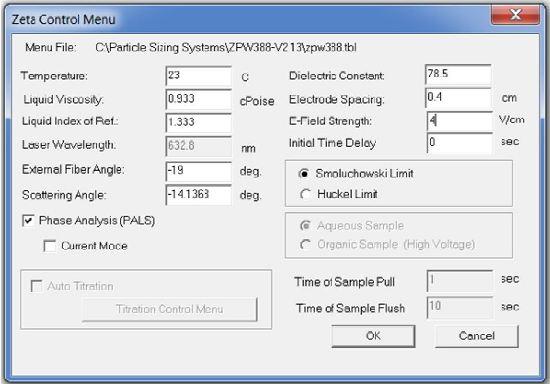 Zeta potential measurement settings