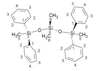 Tetramethyl tetraphenyl trisiloxane molecule