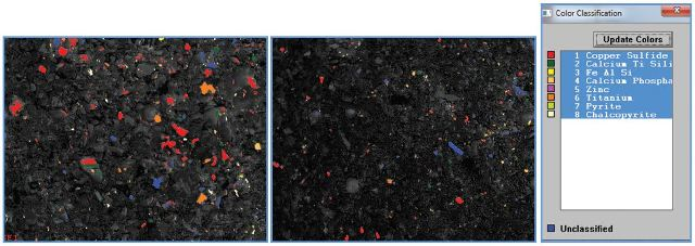 Individual examples of a single field of view, 1.35 X 1.055 m with particles as small as 1.2 x 1.2µm shows the metallic particles colored according to their key (right). Darker particles, which are lower atomic number non-metallics are not of interest for this analysis and remain unclassified (blue).