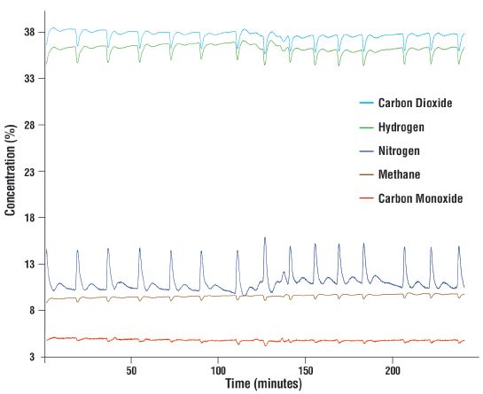 MAX300-IG analysis of the major syngas components. 3,225 samples were recorded over 4 hours of analysis.