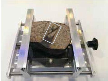 Historically cut sample of Mocs meteorite