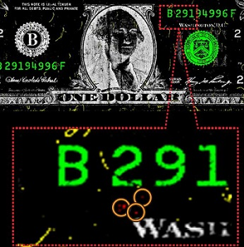 Dollar bill showing traces of explosives