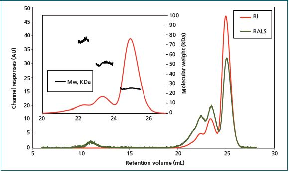 Chromatogram of Bcl-2 sample shows the presence of three different species after incubation at 37 °C for one day.