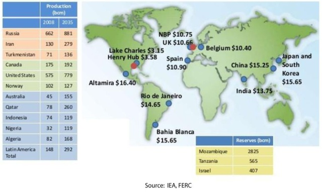 World LNG estimated November 2013 landed and hub prices