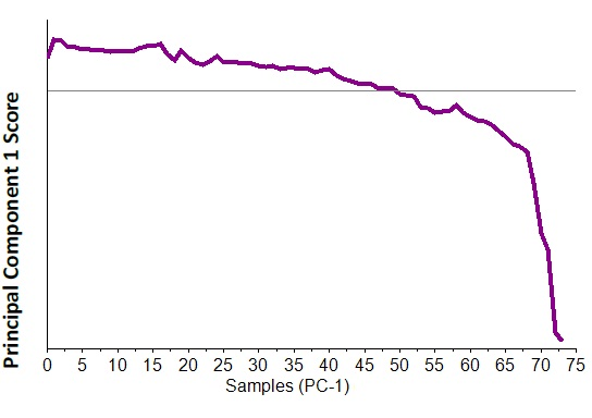 PC-1 score plot from full spectral range PCA analysis of 75 spectra collected during temperature experiment.