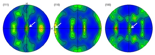 EBSD pole figure results for 60ppm Si annealed Nb sheet of 254µm