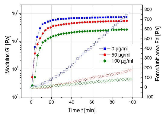 Effects of tetrameric concanavalin A on the clot rigidity (G') and contractile force of platelet-fibrin clots