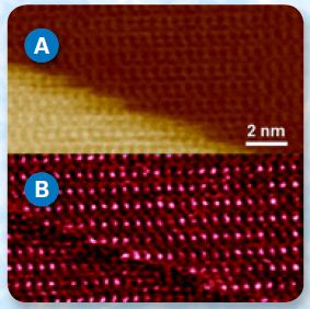 Height (A) and stiffness (B) maps of calcite obtained with PeakForce Capture