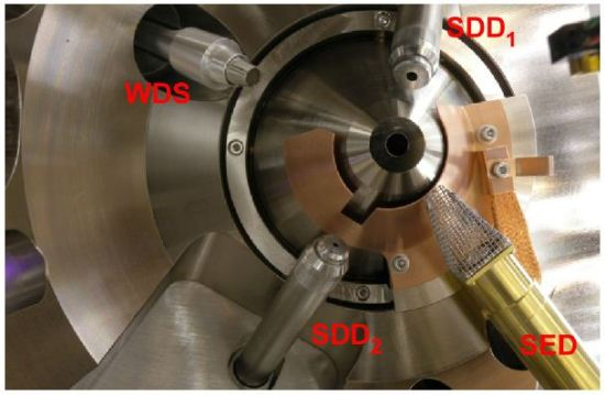 Interior view from below of an SEM (JEOL 700F) with dual silicon drift detectors