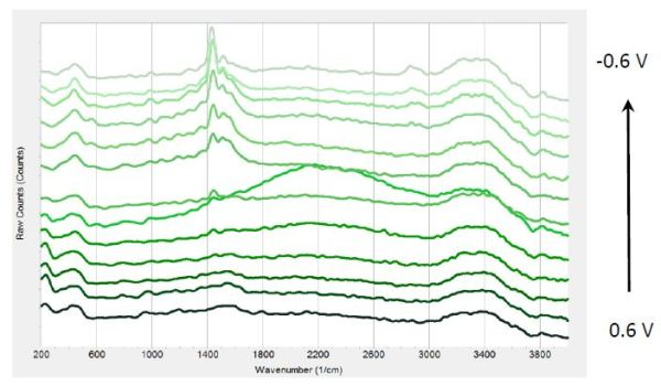 Raman spectra at different potentials from 0.6 V to -0.6 V from bottom to top in 0.1V steps.