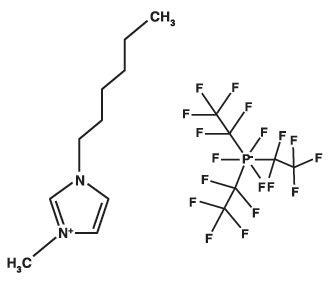 Chemical structure of 1-hexyl-3-methylimidazolium tris(pentafluoroethyl)trifluorophosphate