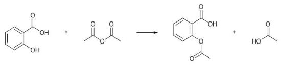 O-Acetylation of salicylic acid to give acetylsalicylate (aspirin)