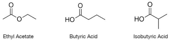Chemical structures of Isobutyric Acid, Ethyl Acetate and Butyric Acid