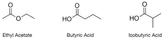 Chemical Structure of butyric acid, isobutyric acid and ethyl acetate