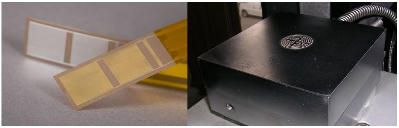 Disposable (left) and reusable (right) dielectric sensors.