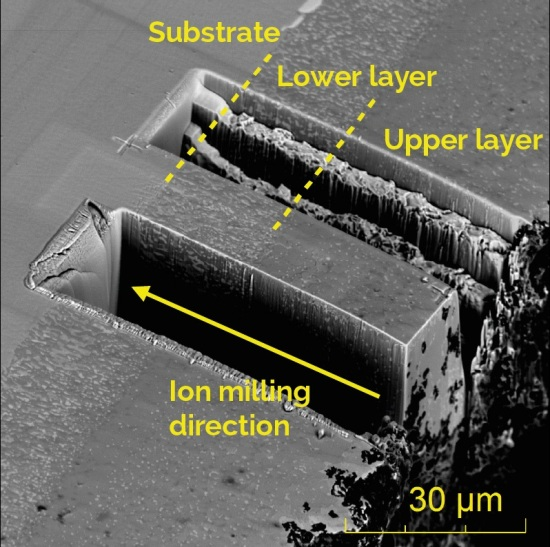 Ion milling of silicon enriched nickel aluminide diffusion coating (SEM)