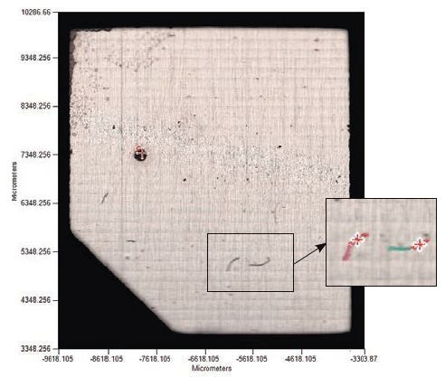 The Visible Image Survey and expanded region, Figure 1b, showing automatic detection of contaminants.