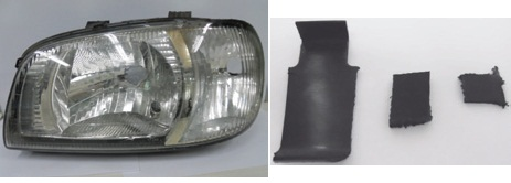 Automotive plastic samples. Left: headlight glass, right: interior trim parts.