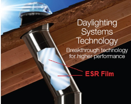 Example of Tubular daylighting devices (TDDs) which capture sunlight using a rooftop dome, and then transfer it indoors through a reflective tube that runs from the roof to the ceiling. For most commercial TDDs, ESR film is used in the interior of the light transfer tube to achieve high specular reflectivity (up to 99.7 % reflective in the visible spectrum) thereby delivering maximum visible light.