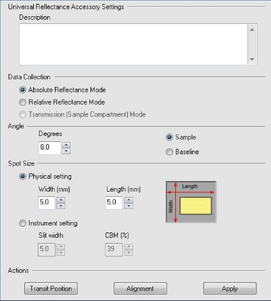 Shown is the Universal Reflectance Accessory settings page of UVWinlab. In addition to the measurement angle, the beam spot size can be finely adjusted.