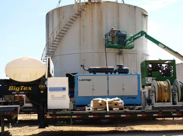 Jet Edge-powered portable waterjet cutting systems to demolish three 35