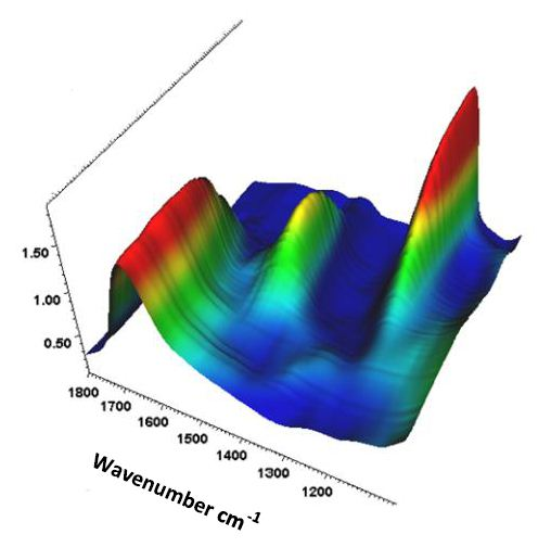 Waterfall plot of H2O, D2O and HOD spectra across the H2O, D2O interface.