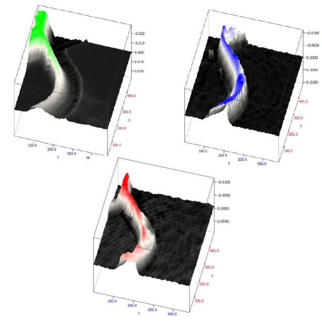 3D representations based on the concentration of H2O (blue), HOD (red) and D2O (green) within the fluidic channel.