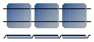 Solar cells connected in series with tabbing ribbons