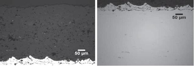 Top) Plasma Spray Al2O3 Coating, 20x. Bottom) Plasma Spray Al2O3 Substrate, 20x.