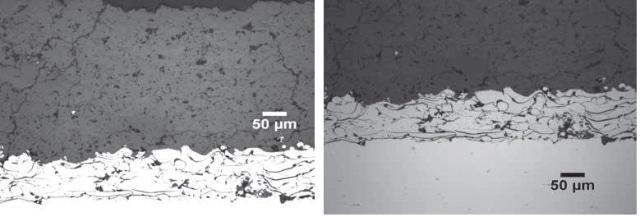 Top) Plasma Spray 8% Yttria Stabilized Zirconia Coating, 20x. Bottom) Plasma Spray 8% Yttria Stabilized Zirconia Substrate, 20x.