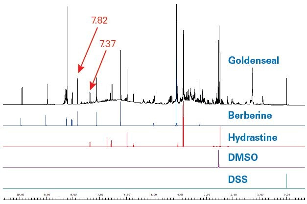400 MHz Goldenseal 1H NMR spectrum (black) as compared to SBASE entries for berberine (blue), hydrastine (red), DMSO (violet) and DSS (turquoise). The signal to- noise of berberine in the goldenseal spectrum for the signal at 7.82 ppm (single proton) at 400 MHz was 547. For hydrastine the S/N was 173 for the proton at 7.37 ppm (single proton).