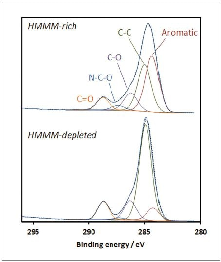 Carbon C1s spectra from HMMM-rich and HMMM-depleted zones.