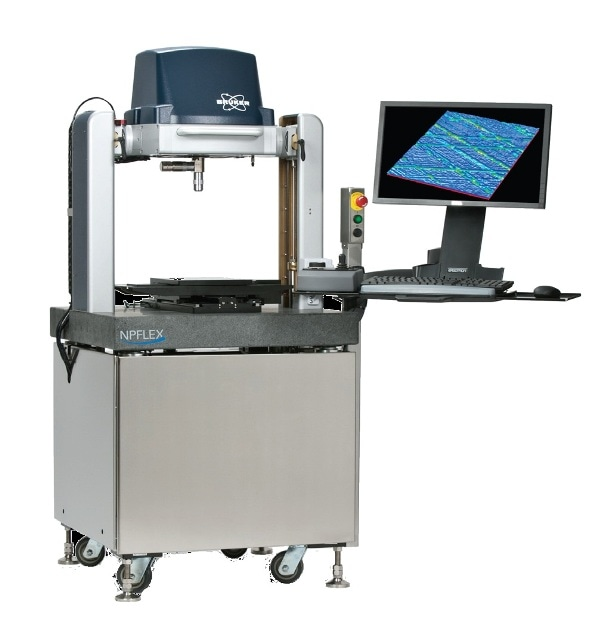 Bruker's NPFLEX 3D optical microscope. Its large nominal working volume handles small or large sample coupons and multi-sample trays.