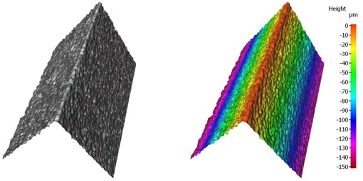 3D surface texture measurement: roughness verification over the entire clearance surface.
