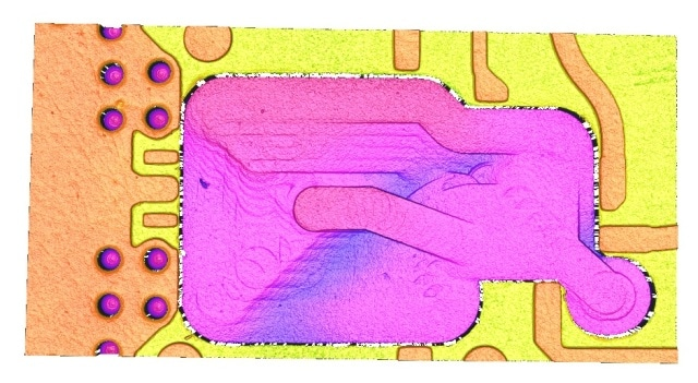 3D visualization of the chip pocket before surface finish.