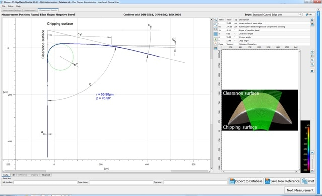 3D measurement of an insert with a curved edge.