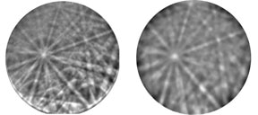 Specialized background corrections have been developed to improve image quality and ensure accurate band detection and pattern indexing from both thin (left) and thick (right) areas of the APT specimens.