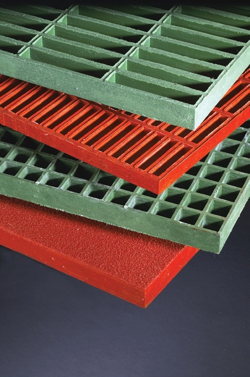DURAGRATE® molded grating has a concave profile on the upper surface for skid resistance. Grit tops are optional.