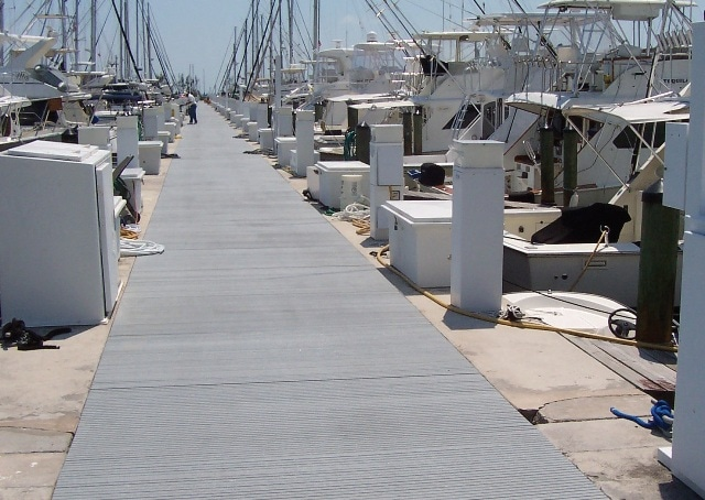 Strongwell's DURAGRID® T-1700 pultruded grating was used for substituting wood planks on a large walkway at Dinner Key Marina in Miami, Florida. The grating allows for easy accessibility to utilities below the walkway and will not rot like the previous wooden walkway.