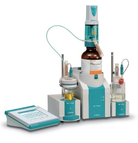 852 Titrando with coulometric and volumetric titration cell for determining trace amounts of water.