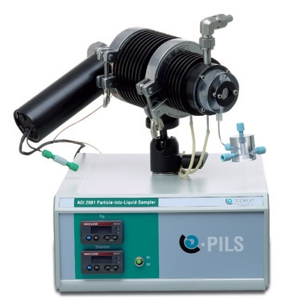 The PILS (Particle-Into-Liquid Sampler) transfers aerosols, and therefore also particles, directly into an aqueous sample solution that can be analyzed voltammetrically by a 797 VA Computrace without any further sample preparation steps needed.