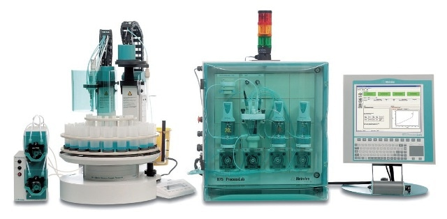 ProcessLab system for the analysis of nickel-plating baths. A completely automated system with sample changer is recommended for the fast and convenient analysis of samples from several production lines.