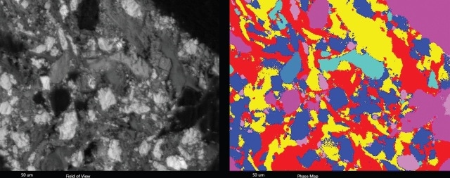 SEM Image (left) and phase map (right) of the composite sample.