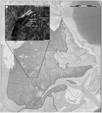 Map of the source location of Mistassini quartzite in the Colline Blanche formation, central Quebec, Canada.