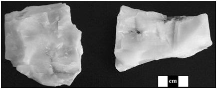 Coarser-grained Mistassini quartzite (left) and finer-grained Mistassini quartzite (right).