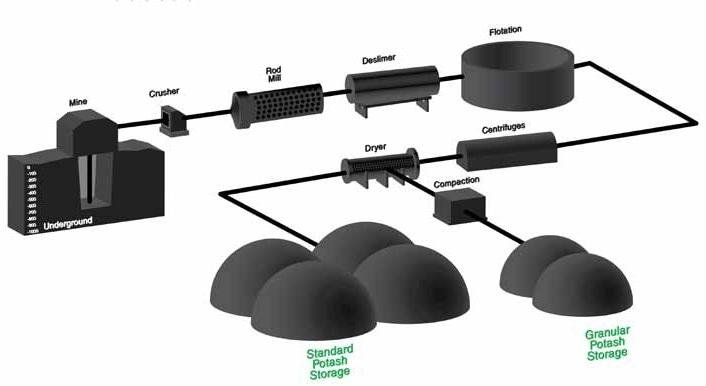 Potash production layout
