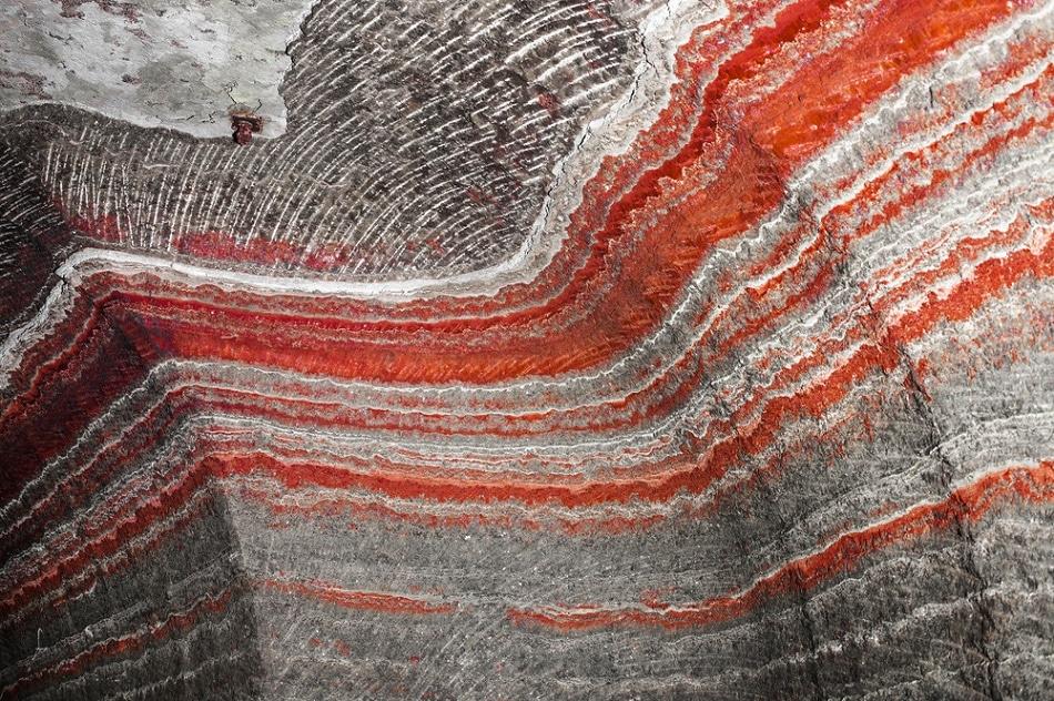 A cross-section of a potassium salt mine.