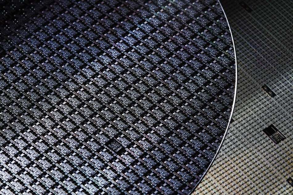 A silicon wafer. PVD is used to coat the silicon, allowing a copper layer to be placed on top with no diffusion between the metal (copper) and semiconductor (silicon) layers.