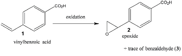 Schematic of the model reaction for demonstrating the technique. 4-Vinyl-benzoic acid is oxidized in water with H2O2 to form the reaction products, an epoxide and traces of the corresponding carboxybenzaldehyde. A manganese complex was used as the catalyst.